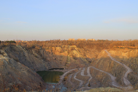 gravel pit: stone quarry