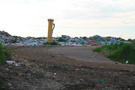 putrefy: Large garbage dump outside of city Stock Photo