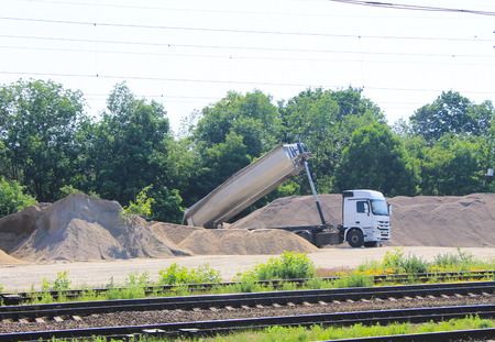 unload: Tipper truck unload gravel