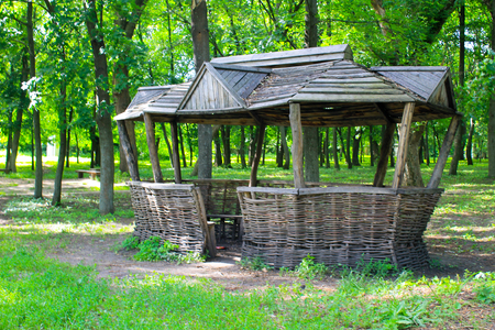 gazebo: Old wooden gazebo in the park