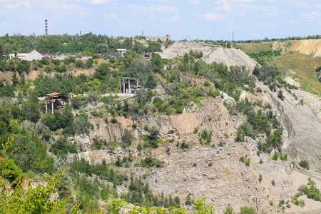 extraction: Extraction of mineral resources in the granite quarry Stock Photo