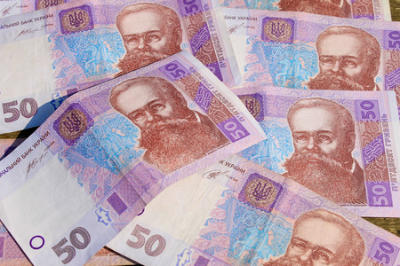 hryvna: Background of the Ukrainian money hryvnia nominal value of fifty