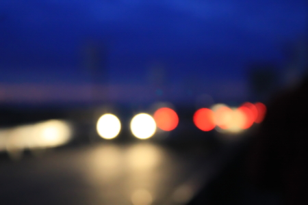 car lights: Bokeh blurred car lights in the night