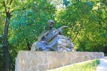 national poet: Monument to kobzar in Chigirin, Ukraine Stock Photo