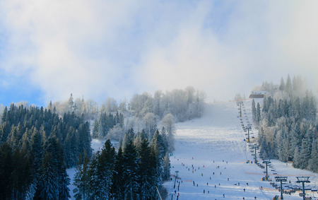 chair on the lift: Chair lift in Carpathians Stock Photo