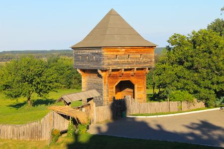 watchtower: Old wooden watchtower in Subotiv village, Ukraine Stock Photo