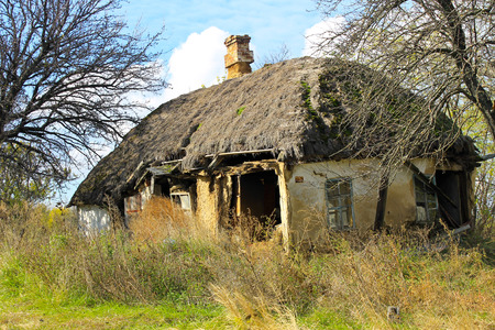 Abandoned rural house in Ukraine Stock Photo