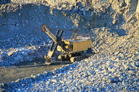 heavy machinery: Heavy machinery in the granite quarry