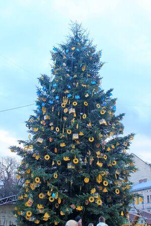 Lviv, Ukraine - January 12, 2016: Decorated Christmas tree in Lviv, Ukraine