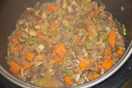 slow cooker: Preparation of mushrooms with carrot and onion in slow cooker
