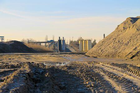Conveyor belt in the granite quarry