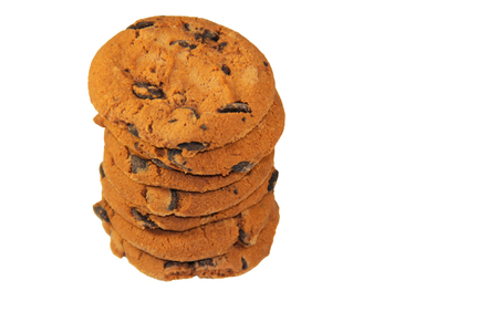 Chocolate chip cookies isolated on the white background