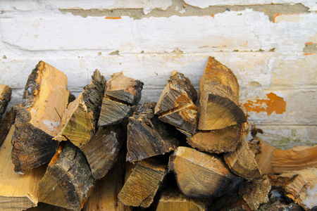 lumbering: Stack of firewood Stock Photo
