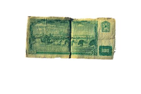 koruna: 100 koruna bill of Czechoslovakia isolated on the white background