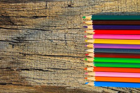 colour pencils: Colour pencils on the wooden background