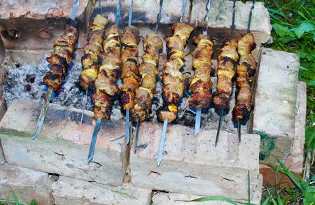Shish kebab (shashlik or skewered meat) on bonfire Stock Photo