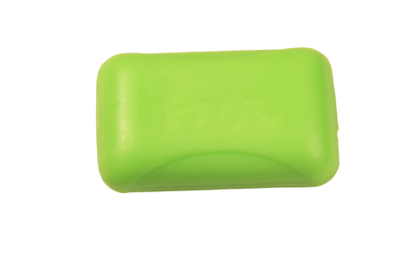 glycerin soap: Green soap bar isolated on white background Stock Photo