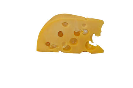 holland: Piece of cheese isolated on white background Stock Photo