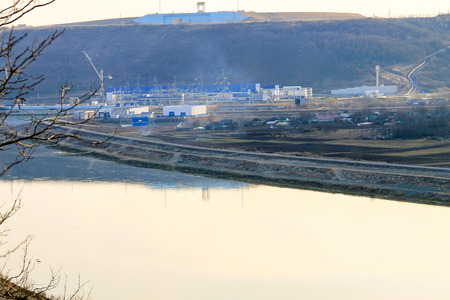 powerhouse: View on the Hydro power plant on the river Dniester in Ukraine