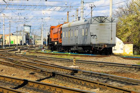 View on the maintenance train on railroad track Stock Photo