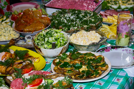 Festive table with variety food