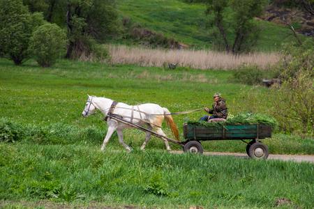 Kirovograd region, Ukraine - May 12, 2017: Horse cart carrying hay harvest on rural road