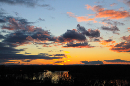 dnepr: Sunset over the river Dnieper