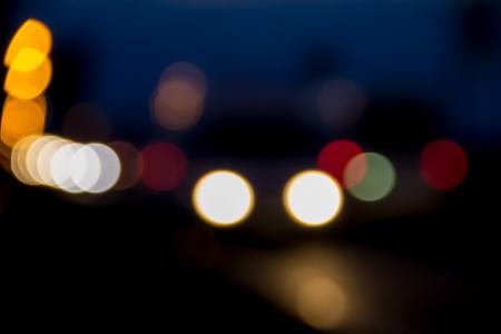 shiny car: Bokeh blurred car lights at the night Stock Photo
