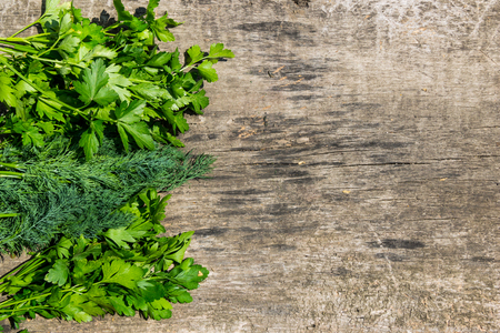 table top: Fresh green dill and parsley herbs on rustic wooden table. Top view with copy space