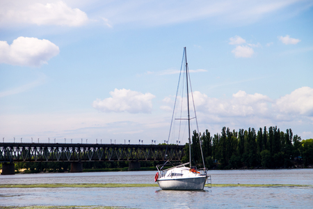 expensive: White sailing yacht on the river Dnieper