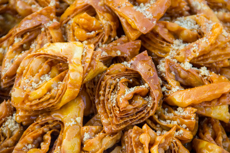 Eastern dessert honey baklava close-up