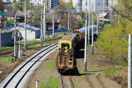 heavy industry: View on the maintenance train on railroad track Editorial