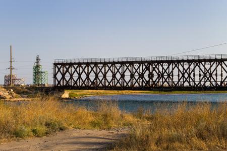 metal structure: Iron bridge in Genichesk town, Ukraine
