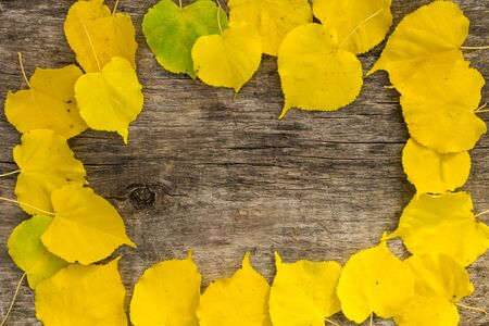 Frame of autumn yellow leaves on rustic wooden background. Top view, copy space