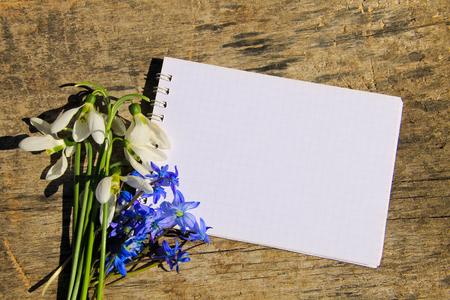 Boeket van eerste lentebloemen en blanco notitieblok op rustieke houten achtergrond Stockfoto