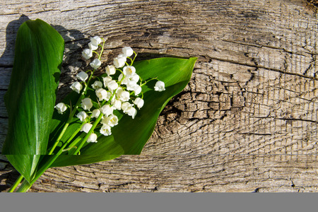 Lily of the valley flowers on wooden background with copy space. Top view Zdjęcie Seryjne