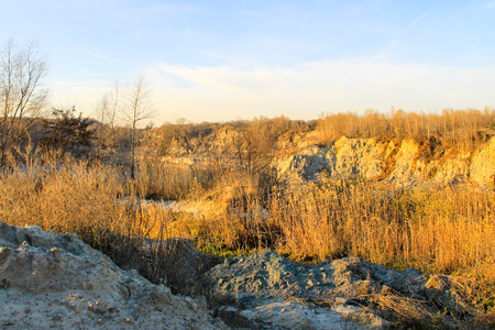 pit fall: View on the granite quarry on autumn