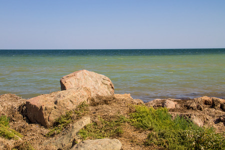View on the Azov sea on summer Stock Photo