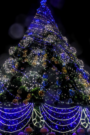 christmastide: Detail of decorated christmas tree with xmas lights