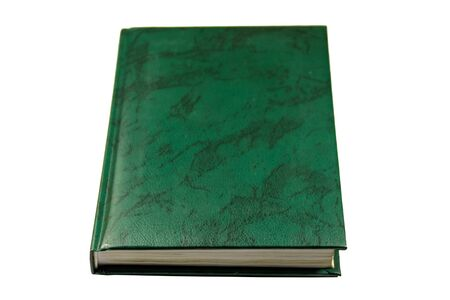 Closed green book isolared on white background