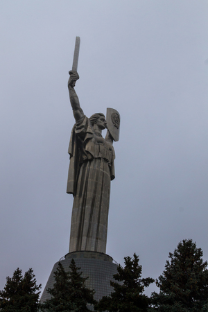 Motherland Monument in National Museum of the History of Ukraine in the Second World War. Memorial complex in Kiev, Ukraine. The stainless steel statue stands 62 m (203 ft) Sajtókép
