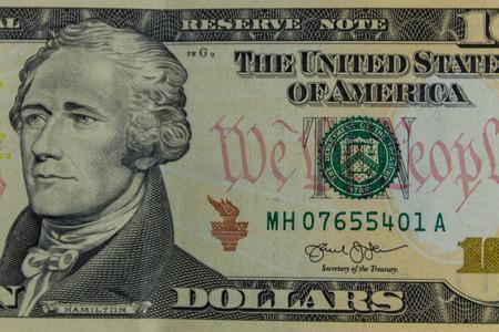 Macro shot of ten dollars banknote
