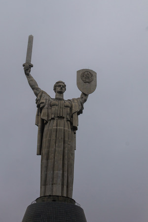 Motherland Monument in National Museum of the History of Ukraine in the Second World War. Memorial complex in Kiev, Ukraine. The stainless steel statue stands 62 m (203 ft) Stock fotó - 92078643