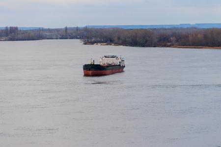 Cargo ship sailing on the river Dnieper Archivio Fotografico