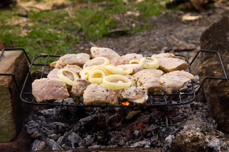 Spiced raw pork meat on grill outdoor. Preparation of shish kebab. Marinated meat on charcoal Stock Photo