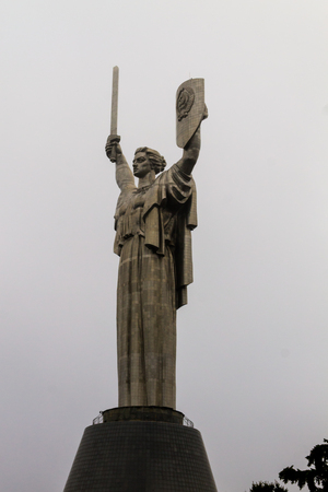 Motherland Monument in National Museum of the History of Ukraine in the Second World War. Memorial complex in Kiev, Ukraine. The stainless steel statue stands 62 m (203 ft) Stock fotó
