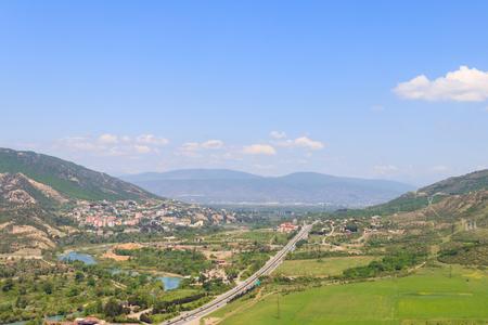 Aerial view on old town Mtskheta in Georgia Stock Photo