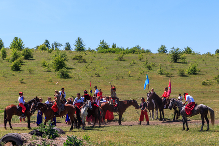 Dnepropetrovsk region, Ukraine - June 2, 2018: Ethno-rock festival Kozak Fest. Reenactment of Battle of Zhovti Vody between cossacks in alliance with Crimean tatars and Polish forces