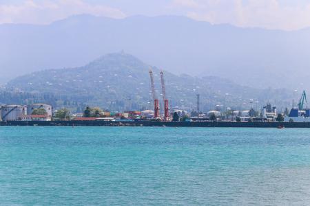 Cargo port on Black Sea in Batumi, Georgia