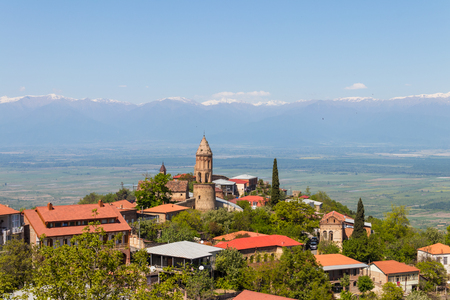View on the Sighnaghi town and Caucasian mountains in Kakheti region, Georgia